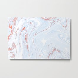 Blue Orange Marble Retro Marble Paper Metal Print