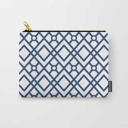 Modern Geometric Diamonds and Circles Pattern Navy Blue and White Carry-All Pouch