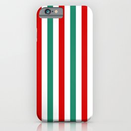 Peppermint Stripes Red Green and White | Medium Vertical Stripes iPhone Case