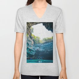 Sea Cave in Greece Unisex V-Neck
