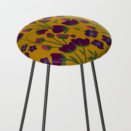 Purple and Gold Floral Seamless Illustration Counter Stool