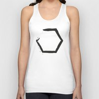 hexagon Tank Tops featuring Black Hexagon by C Designz