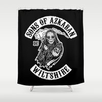 sons of anarchy Shower Curtains featuring Sons of Azkaban by Six Eyed Monster