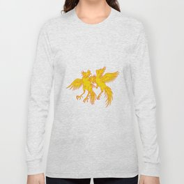Cockfighting Roosters Cockerel Drawing Long Sleeve T-shirt