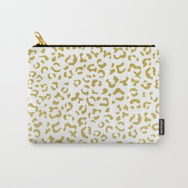 Animal Print, Leopard Spots, Glitter - Gold White Carry-All Pouch