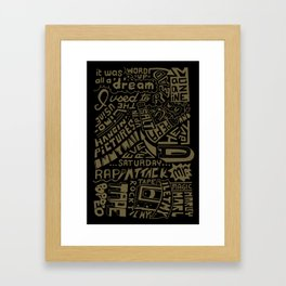 Juicy Lyrics handwritten type Framed Art Print