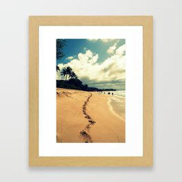 sunset beach footprints Framed Art Print