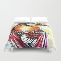 jay fleck Duvet Covers featuring Crazy Jay by Abby Diamond