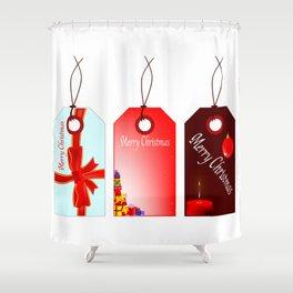 Christmas Tag Set Shower Curtain