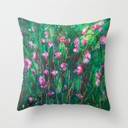"""WOODLAND SPRING"" Original Painting by Cyd Rust Throw Pillow"