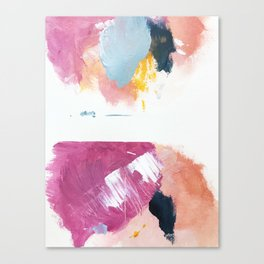 Cotton Candy: a bright, colorful abstract in pinks, blues, yellow, and white Canvas Print