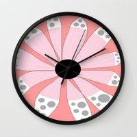 beth hoeckel Wall Clocks featuring FLOWERY  BETH / ORIGINAL DANISH DESIGN bykazandholly by by Kaz & Holly
