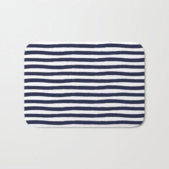 Navy Blue and White Horizontal Stripes Bath Mat
