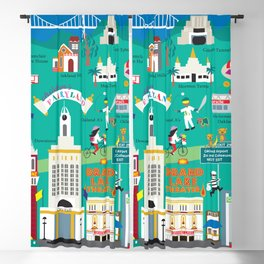 Oakland, California - Collage Illustration by Loose Petals Blackout Curtain