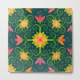 Nordic Traditional Floral (pattern) Metal Print