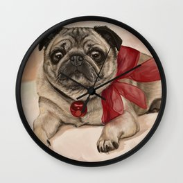 The pug with a red bow Wall Clock