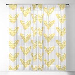 Butterfly Pattern Yellow 2 Sheer Curtain