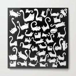 White cats on black Metal Print