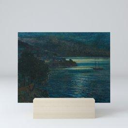 Coastal Landscape at Night nautical maritime seascape painting by Vartan Mahokian Mini Art Print