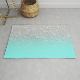 Modern girly faux silver glitter ombre teal ocean color bock Rug