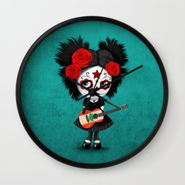 Day of the Dead Girl Playing Lebanese Flag Guitar Wall Clock