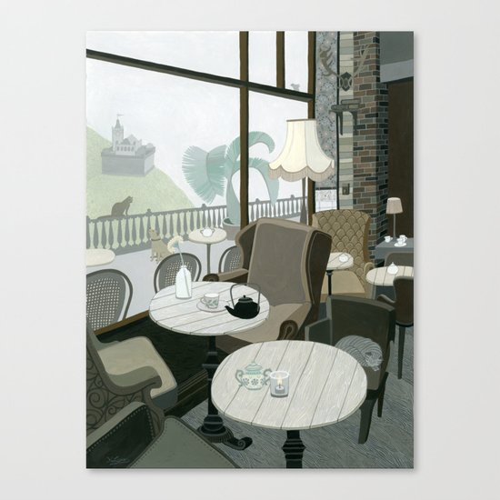 Cafe With A View Of The Castle Canvas Print