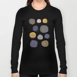 Abstract Circles in Mustard, Charcoal, and Navy Long Sleeve T-shirt