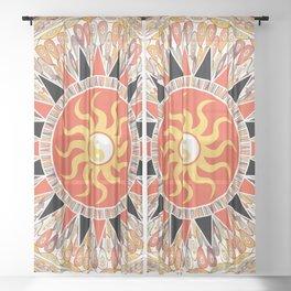 Sunshine mandala Sheer Curtain