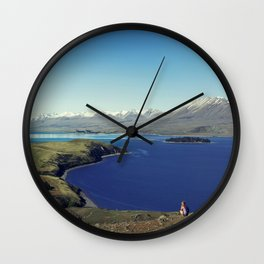 She felt tiny in Lake Tekapo Wall Clock