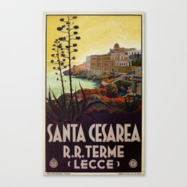 Vintage Italian travel Santa Cesarea Terme Lecce Canvas Print