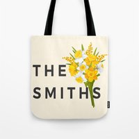 the smiths Tote Bags featuring SMITHS by priscilawho
