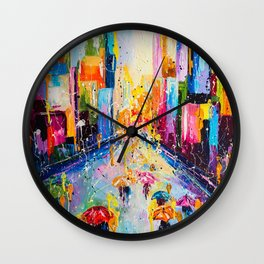RAINING IN THE CITY Wall Clock