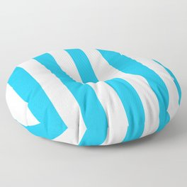 Spiro Disco Ball blue - solid color - white vertical lines pattern Floor Pillow
