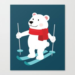 Lets Go Skiing with Mr Polar Bear this Merry Christmas Canvas Print