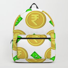 Rupee pattern background. Backpack