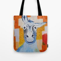 donkey Tote Bags featuring DONKEY by Leonard Lesic