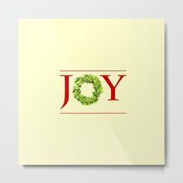 JOY Christmas Wreath  Metal Print