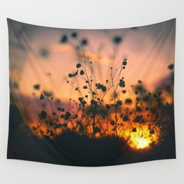 Poppy flowers shadows over sunset Wall Tapestry