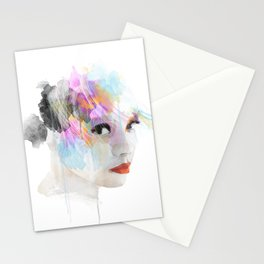 Watercolour Portrait of a girl Stationery Cards