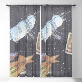 Gagarin space art #5 Sheer Curtain