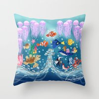 finding nemo Throw Pillows featuring Sea Wallpainting by princessbeautycase