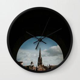 Royal Mile from Edinburgh Castle | Colourful travel photography | Edinburgh, Scotland Wall Clock