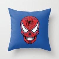superheros Throw Pillows featuring Spidey Sugar Skull by Clark Street Press