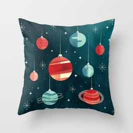 Joy to the Universe (in Teal) Throw Pillow