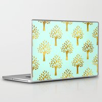 gold foil Laptop & iPad Skins featuring Mint Gold Foil 02 by Aloke Design