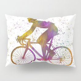 Cyclist competing in watercolor 03 Pillow Sham