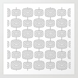Mid Century Modern Atomic Rings Pattern Gray 3 Art Print