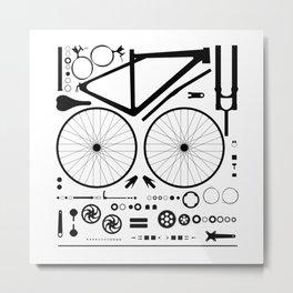 Bike Parts Exploded Metal Print