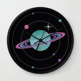 Turquoise Saturn & Bright Star Wall Clock