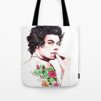 harry styles Tote Bags featuring Harry Styles by dariemkova
